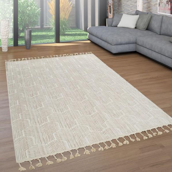 Kurzflor Teppich Beige Wohnzimmer Retro Design 3-D Waben Muster Fransen Robust