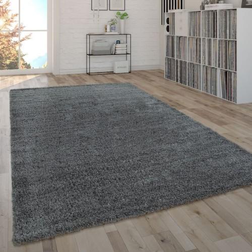 Shaggy Teppich Hochflor Flauschig Wohnzimmer Pflegeleicht Modern Uni In Grau