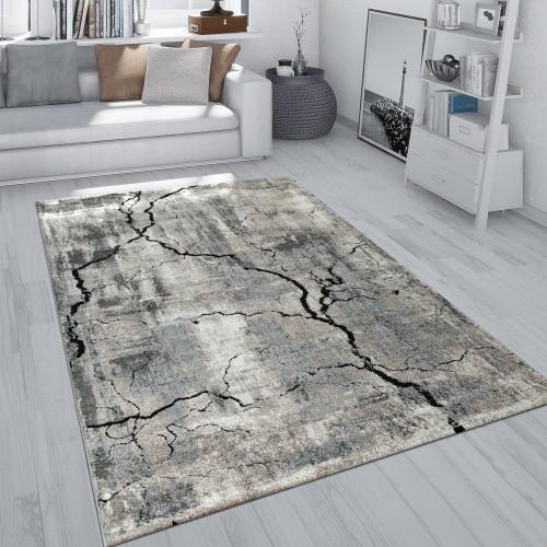 Kurzflor Teppich Wohnzimmer Used Look Beton 3-D