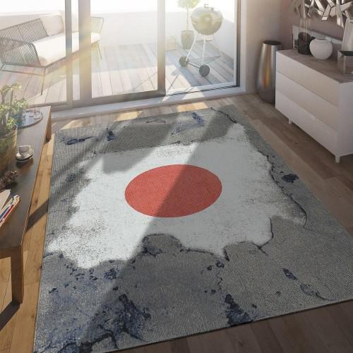 In- & Outdoor Terrassen Teppich Japanische Flagge Moderne Beton Optik