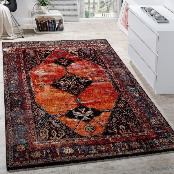 Designer Teppich Modern Kurzflor Orientalisch Design Mehrfarbig Rot Braun Bunt