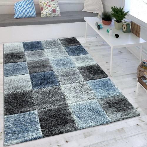 Wohnzimmer Teppich Indigo Blau Grau Trend Kariert Vintage Optik Maritimer Stil