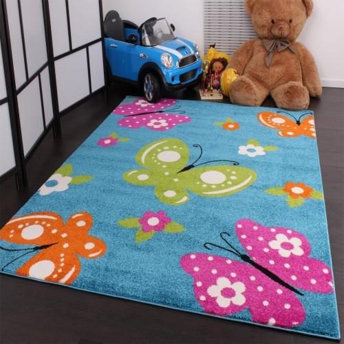 Kinderteppich Schmetterling Butterfly Design Türkis Creme Pink Grün Orange
