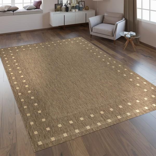 Flachgewebe Teppich Bordüre Braun