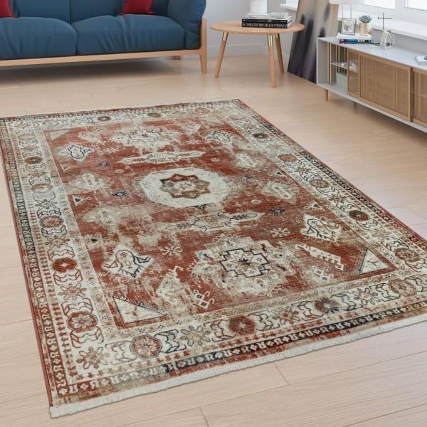 Kurzflor Wohnzimmer Teppich Orient Design Used-Look Modern Bordüre Bunt