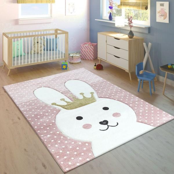 Kinderteppich Kinderzimmer Konturenschnitt Gepunktet Hase Krone Pastell Rosa