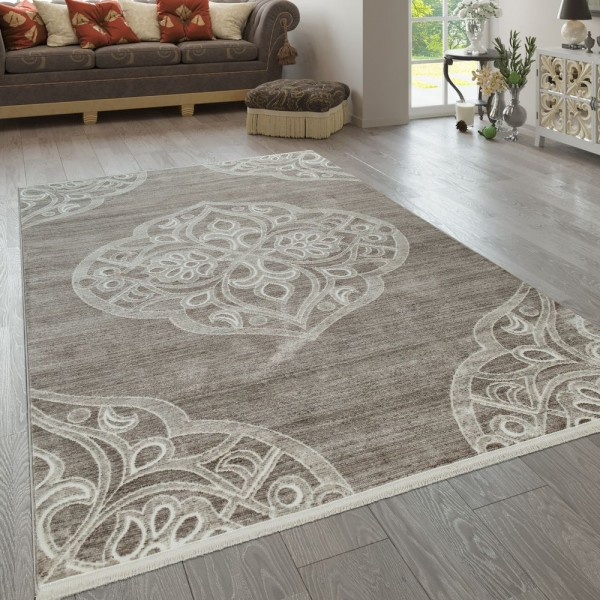 Teppich Wohnzimmer Klassisch Muster Orientalisch Kurzflor Ornamente Beige Weiß