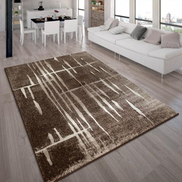 Designer Teppich Modern Trendiger Kurzflor Braun Beige Creme Meliert
