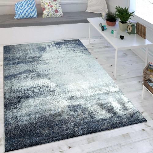 Wohnzimmer-Teppich Used-Look Blau