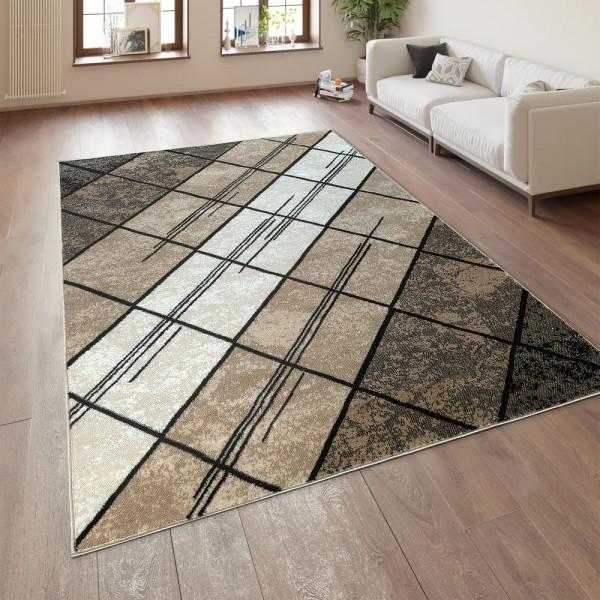 Wohnzimmer Teppich Kurzflor Geometrisches Muster Braun