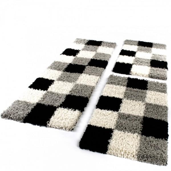 Läuferset in Grau, Schwarz und Weiß