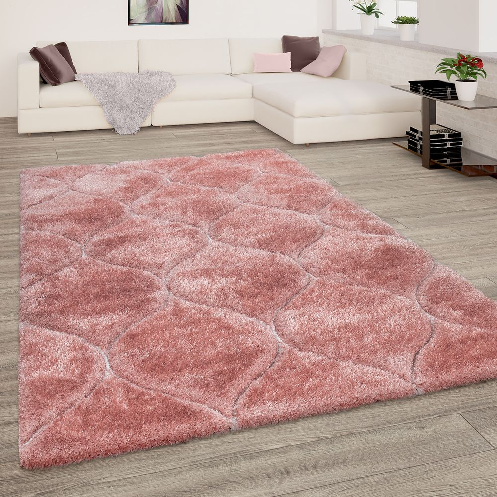 Shaggy Teppich Wohnzimmer Hochflor 3-D Wellen Look
