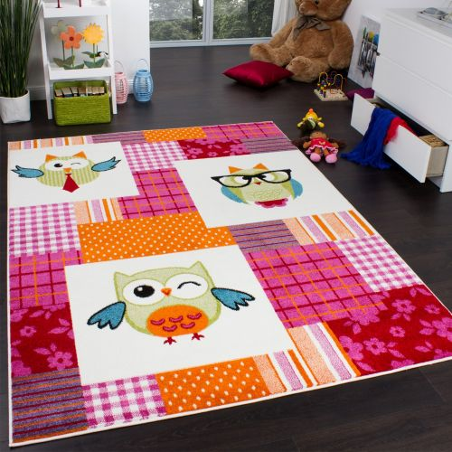 Teppich Kinderzimmer Trendige Eulen Kinderteppich Eule Mehrfarbig Pink Creme