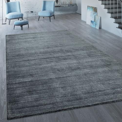 Kurzflor Teppich Einfarbig Modern Silber