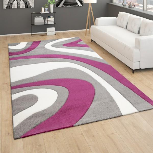 Teppich Modern Wohnzimmer Kurzflor Wellen Design