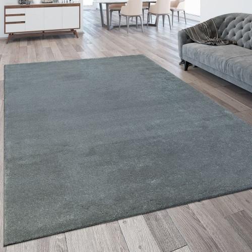 Kurzflor Wohnzimmer Teppich Waschbar Strapazierfähig Einfarbig Meliert In Silber
