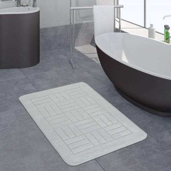 Moderner Badezimmer Teppich Badvorleger Kariertes Muster Einfarbig In Weiß