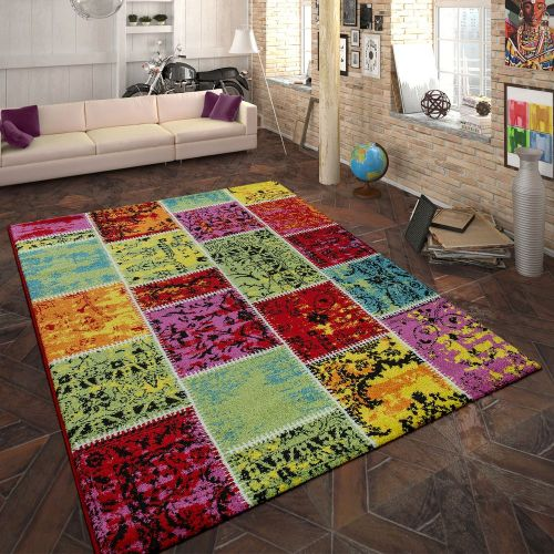 Designer Teppich Patchwork Muster Multicolor