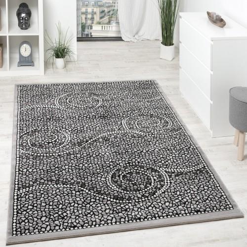 Designer Teppich Kurzflor Klassische Ornamente Mosaik Stein Optik Grau Silber