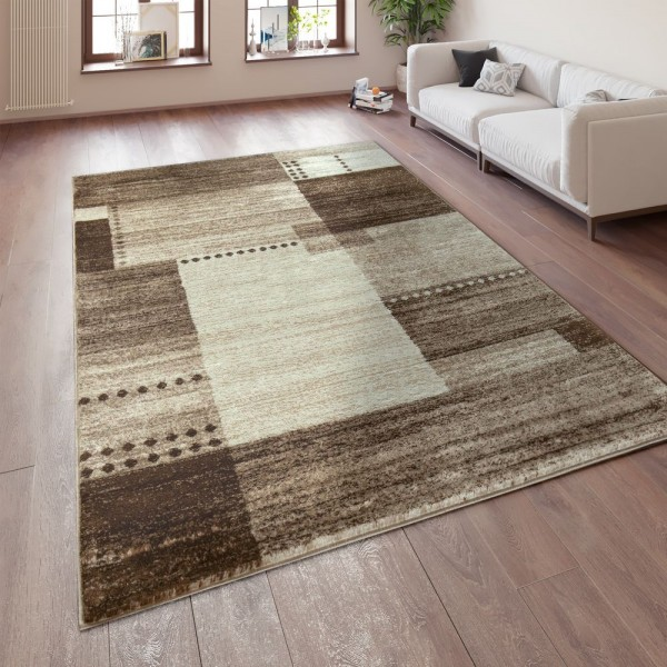 Designer Teppich Kurzflor Wohnzimmer Meliert Karo Muster In Braun Beige Creme