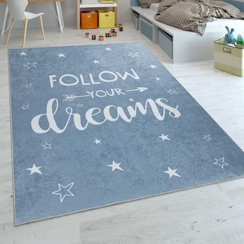 Kinder-Teppich Print-Spruch Sternen-Design