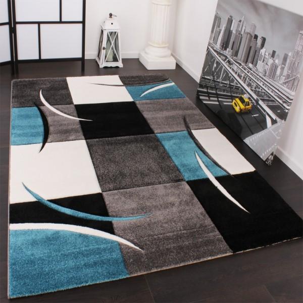 Designer Teppich mit Konturenschnitt Karo Muster Türkis Grau