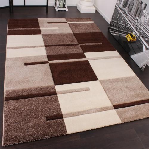 Designer Teppich mit Konturenschnitt Karo Muster Beige Braun