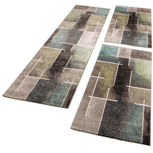 Läuferset Teppich Modern Grau Türkis Grün