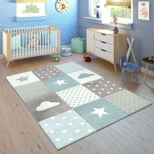 Kinderteppich Kinderzimmer Kariert Punkte Wolken Sterne In Pastell Blau Grau