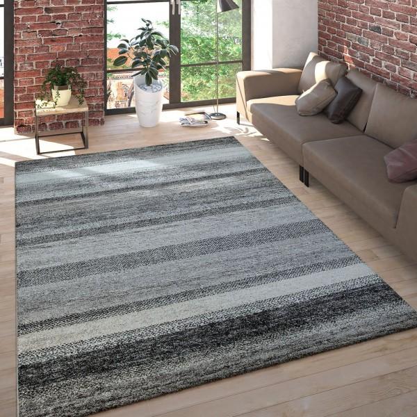 Wohnzimmer Teppich Kurzflor Meliert Mehrfarbig Gestreift in Anthrazit Beige