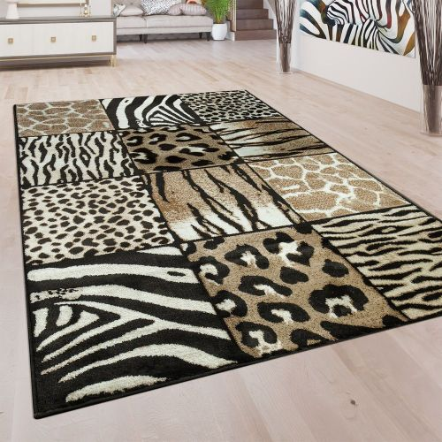 Designer Teppich Kurzflor Wohnzimmer Animal Muster Tierfell Motiv In Braun