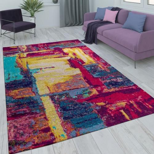 Kurzflor Wohnzimmer Teppich Gemälde Optik Rot Gelb Blau Mehrfarbig