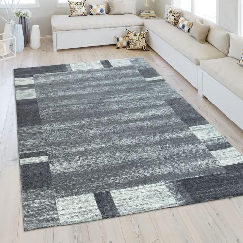 Heatset Teppich Bordüre Silber Grau