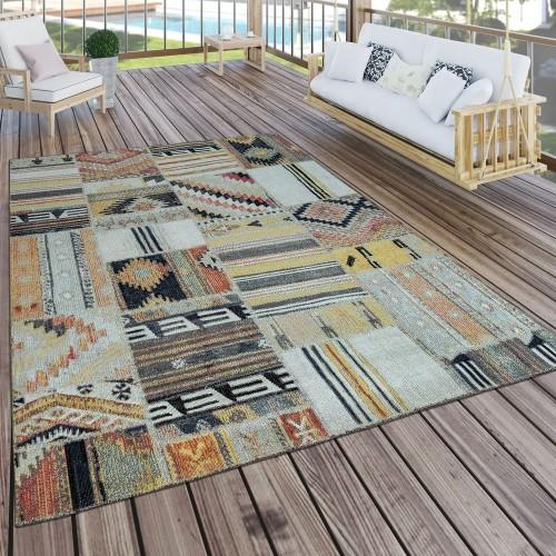 In- & Outdoor Teppich Modern Ethno Muster Terrassen Teppich Wetterfest Bunt