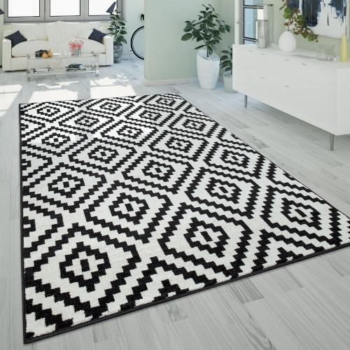 Kurzflor Teppich Schwarz Weiß Wohnzimmer Ethno-Look 3-D Design Rauten Muster