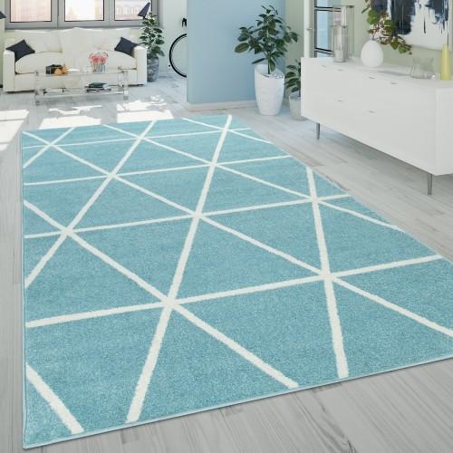 Ethno Teppich Wohnzimmer Rauten Muster Kurzflor