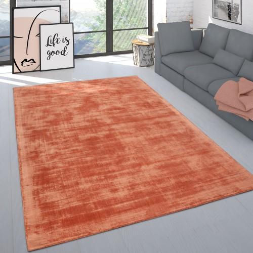 Handgefertigter Kurzflor-Teppich Einfarbig