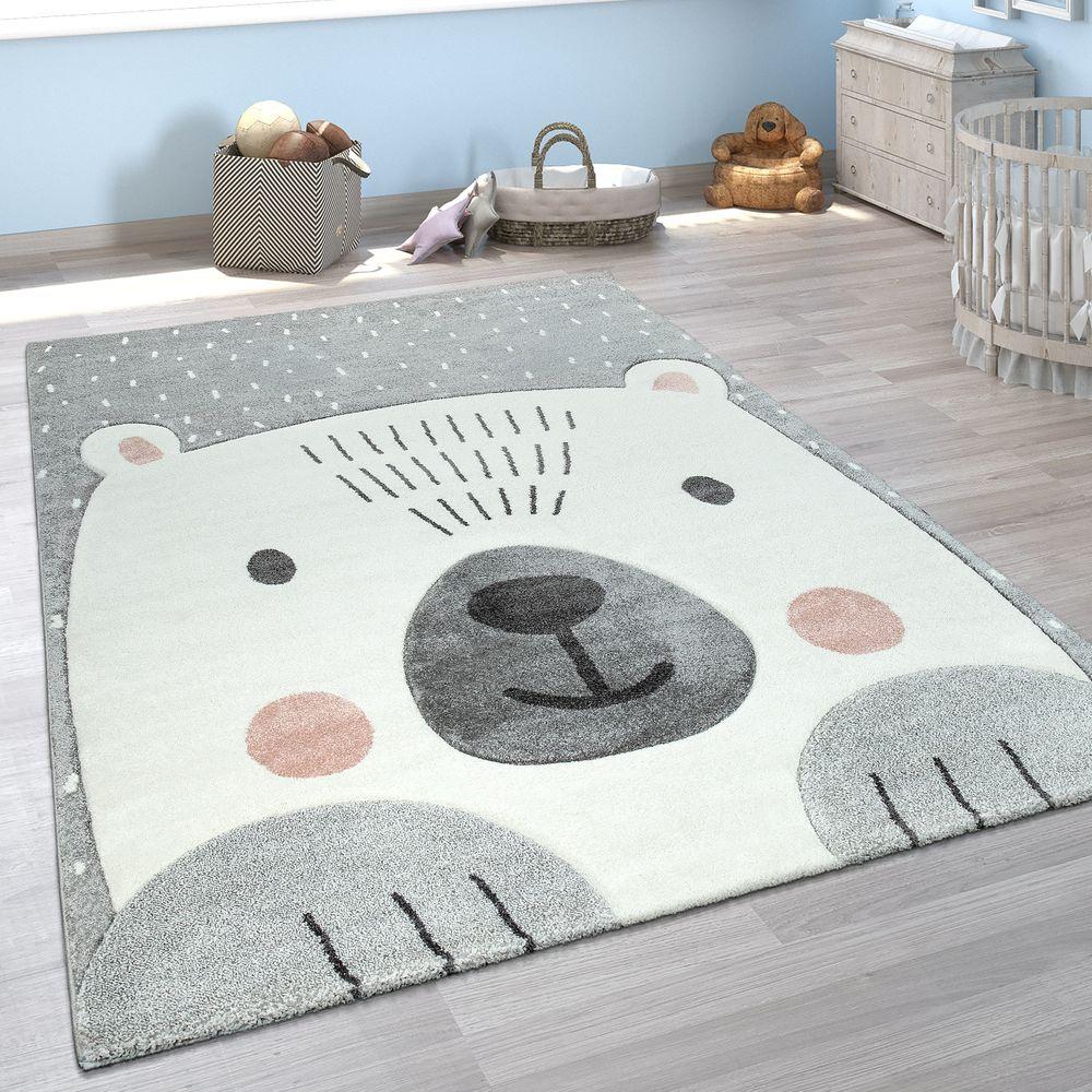 Kinderzimmer Teppich Bär Motiv 3-D Design Kurzflor