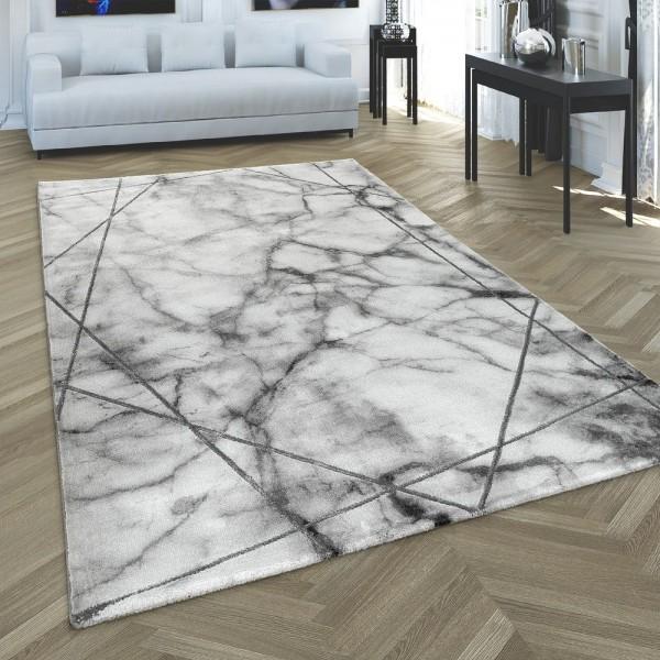 Teppich Wohnzimmer Marmor Muster 3-D Kurzflor Silber