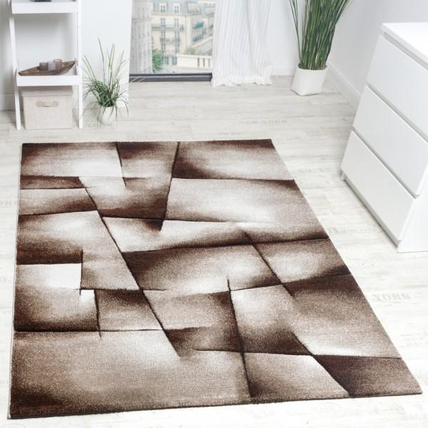 Designer Teppich Modern Kariert Handgefertigt mit Konturenschnitt Braun Creme