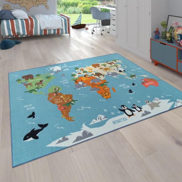 Spielteppich Kinderzimmer Weltkarte Tier Kontinent