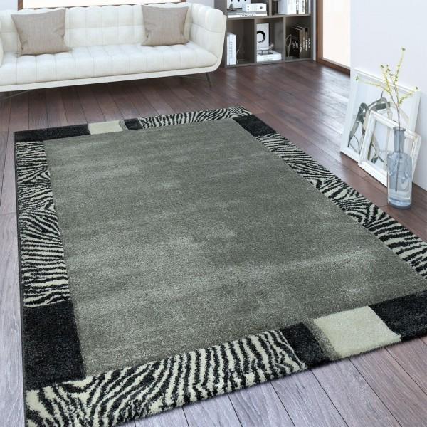 Moderner Kurzflor Teppich Bordüre Farbverlauf Grau