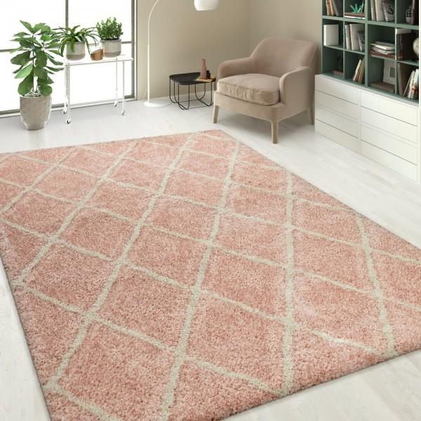 Hochflor Shaggy Teppich Linien Design Pink