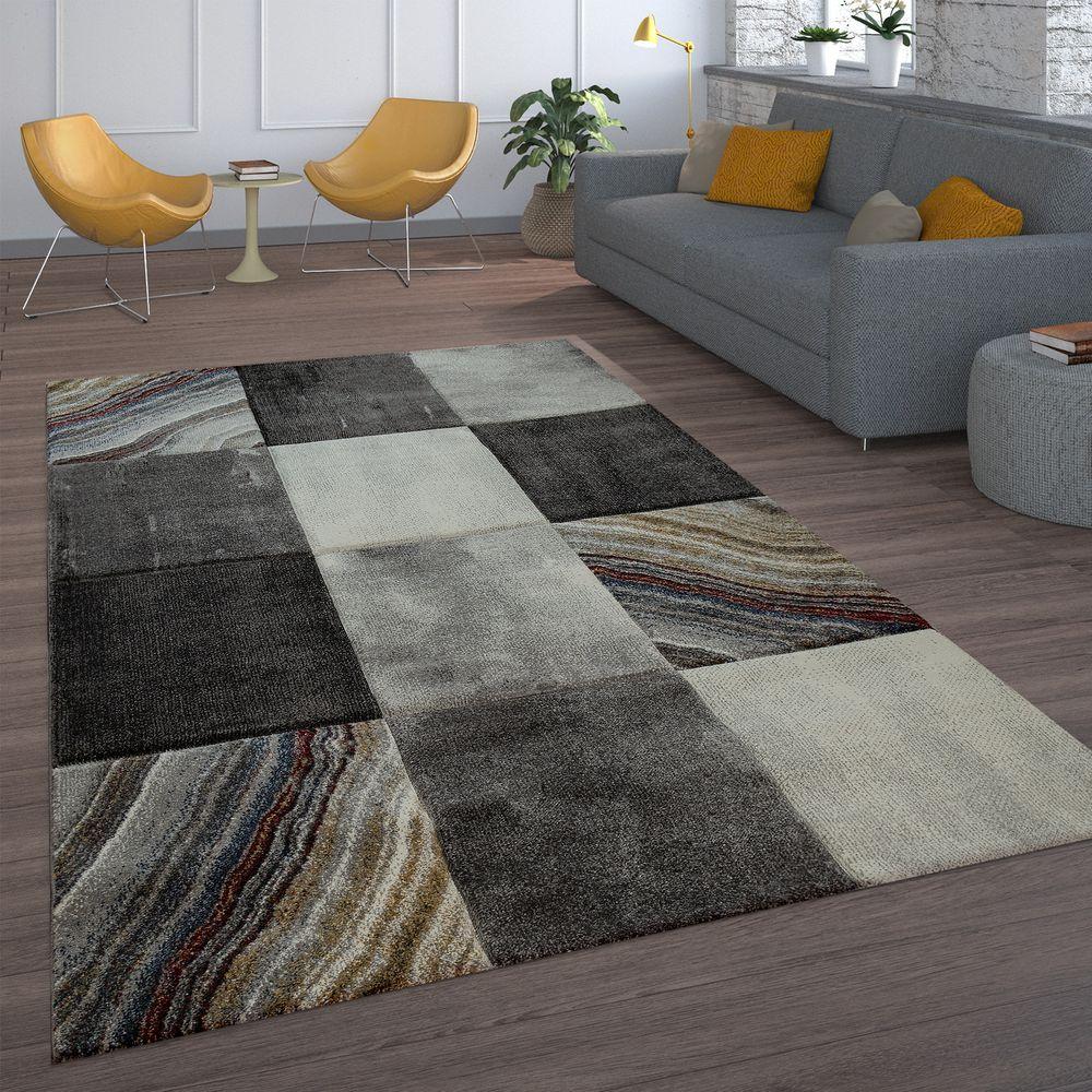Teppich Wohnzimmer Karo Marmor Muster Stein Optik