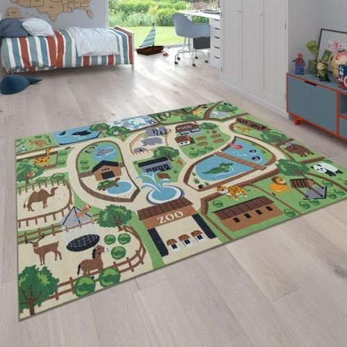 Kinderteppich Zoo Design Löwe Tiger Elefant Affe