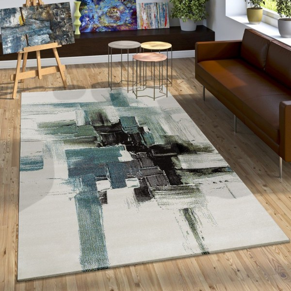 Teppich Modern Leinwand Optik Splash Brushed Designer Teppich Türkis Creme