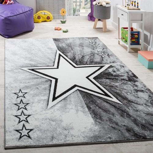 Teppich Kinderzimmer Stern Design Spielteppich Kinderteppich Kurzflor in Grau