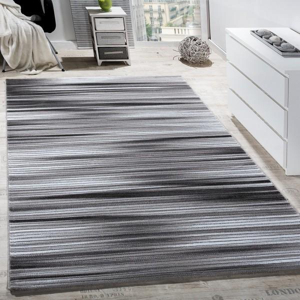 Teppich Wohnzimmer Gestreift Kurzflor Glitzer