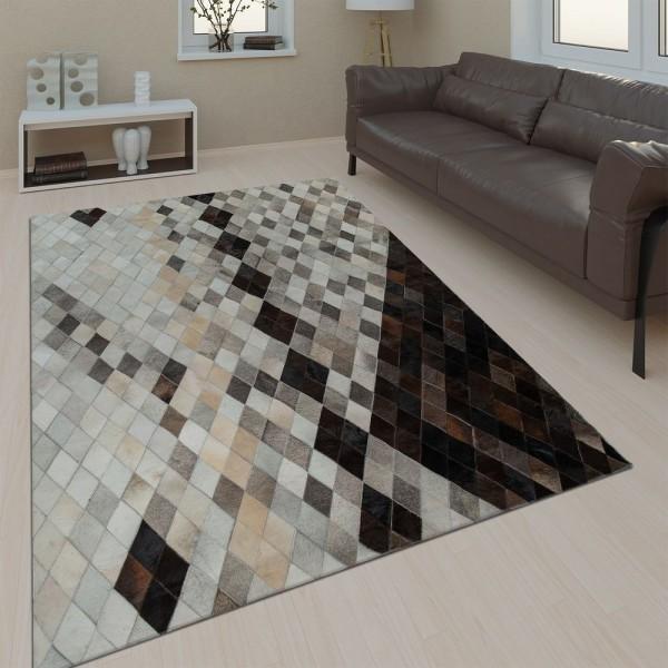 Wohnzimmer Teppich Leder Wolle Modern Muster Rauten Karo In Grau Schwarz Beige