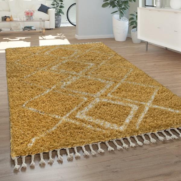 Teppich Wohnzimmer Shaggy Hochflor Karo Muster